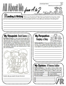 Journal Prompts: Secret Identity All About Me Book w/Hidden Image Coloring (Q-R)