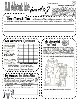 Back to School Autobiography Journal with Secret Detective Guess-Who Game (Y-Z)