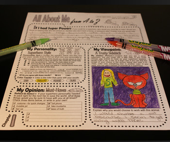Journal Prompts: Secret Identity All About Me Book w/Hidden Image Coloring (I-J)