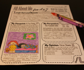 Journal Prompts: Secret Identity All About Me Book w/Hidden Image Coloring (K-L)