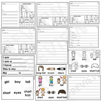 All About Me-Kindergarten Journal Writing Differentiated