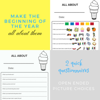 All About Me Differentiated Questionnaires for Beginning of Year Speech Therapy