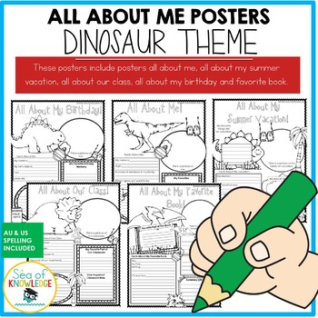 All About Me Dinosaur Themed Posters