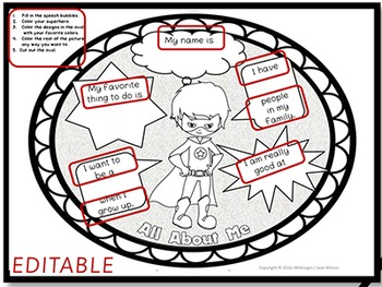 Superhero ALL ABOUT ME Back to School Activity & Bulletin Board Display EDITABLE