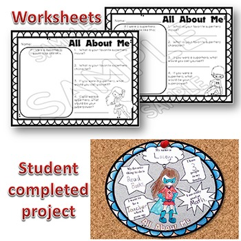 Back to School Activities EDITABLE Superhero ALL ABOUT ME Activity & Worksheets