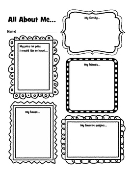 All About Me Early Elementary Get to Know You Activity