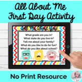 All About Me Editable Google Slides No Print Speech Therapy