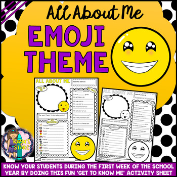All About Me Emoji Series 2 Get to Know Me Activity (Back to School)
