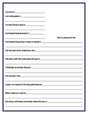 All About Me End of Year Student Questionnaire For Teacher