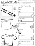 All About Me FIRST DAY OF SCHOOL Activity Icebreaker