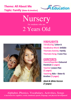 All About Me - Family : Letter D : Dribble - Nursery (2 years old)