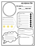 All About Me Fill In Worksheet