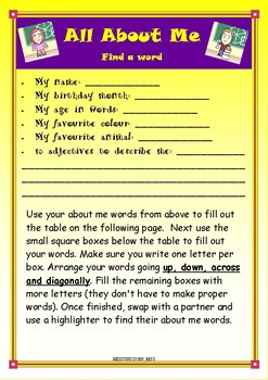 All About Me - Find a Word #BacktoSchool