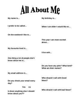 All About Me - First Day Activity