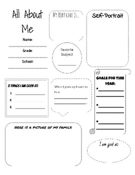 All About Me- First Day Activity
