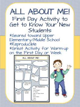 All About Me First Day Activity Worksheet Middle School