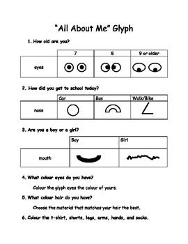 """All About Me"" First Day of School Glyph"