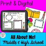 All About Me- First Day of School Ice Breaker for Middle and High