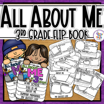 All About Me Flip Book - 3rd Grade Back to School Coloring & Writing Activities