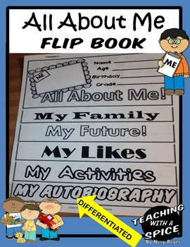 All About Me Flip Book- Back to School- Common Core First