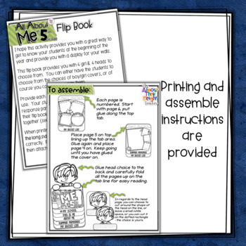 All About Me Flip Book - 5th Grade Back to School Coloring & Writing Activities