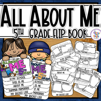 All About Me Flip Book - 5th Grade Back to School Coloring