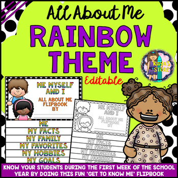 All About Me Flip book (RAINBOW series Flipbook) Back to School Activity