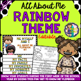 All About Me Editable Flip book (RAINBOW series Flipbook) Back to School