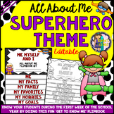 All About Me Editable Flipbook (Superhero series Flip book) Back to School