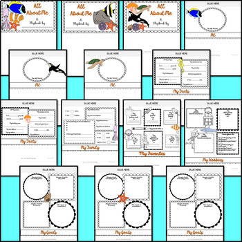 All About Me Flipbook (Under the Sea Theme Flip book) Back to School Activity