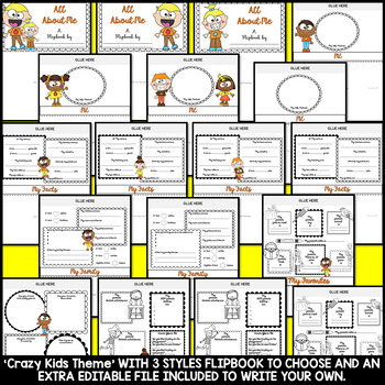 All About Me Flipbook (Crazy Kids Theme Flip book) Back to School Activity