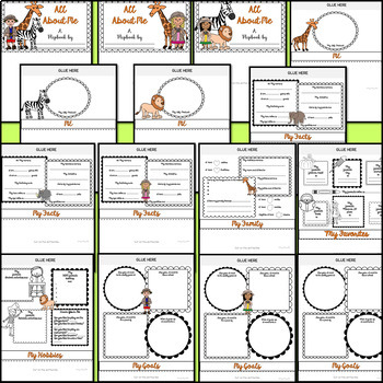 All About Me Flipbook (Safari Jungle Theme Flip book) Back to School Activity