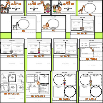 All About Me Flipbook (Safari Jungle Theme Flip book) Back to School Activity