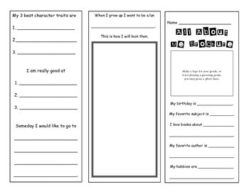 All About Me Brochure Bulletin Board and Parents Night Activity Packet Templates