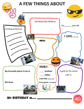 All About Me (For NEW or PREVIOUS year students)
