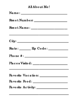 All About Me Form Name Address and Phone Number Favorite Things 1 Page