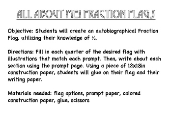All About Me Fraction Flags Bundle {one-half, one-third, one-fourth}