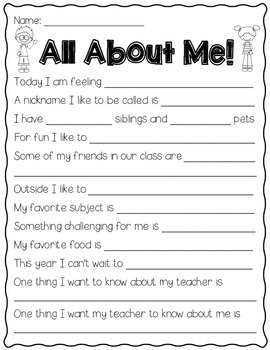 All About Me Freebie