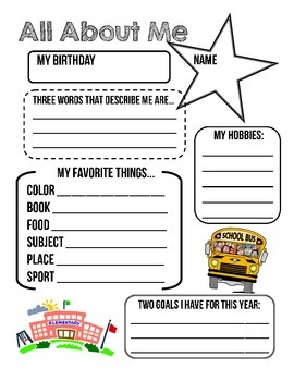 """All About Me"" - Get To Know Your Students!"