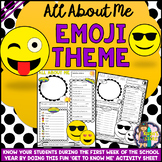 All About Me Get to Know Me Activity EMOJI Theme (Back to School)