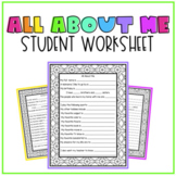 All About Me / Get to Know Me Worksheet