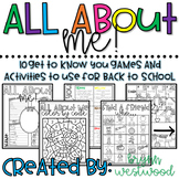 All About Me!-Get to Know You Games & Activities to use fo