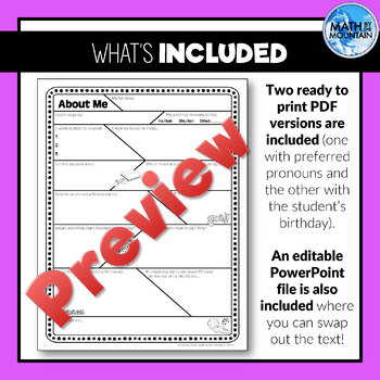 All About Me - Get to Know Your Students EDITABLE