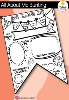 All About Me Activity - Back to School Bunting AUS/USA SPELLING