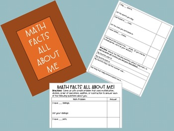 All About Me - Getting to Know Students Using MATH FACTS