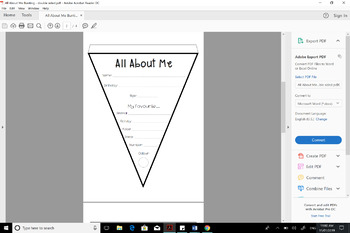 All About Me - Getting to Know You double sided bunting
