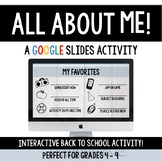 All About Me-Google Slides! Back to School NO PREP Distanc