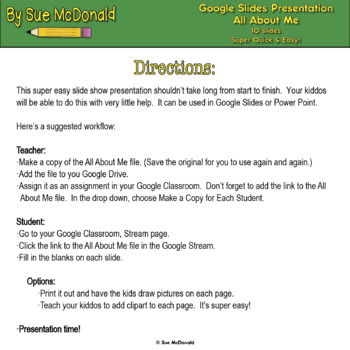 Quick & Easy Tech Project - All About Me - Google Slides, Google Classroom