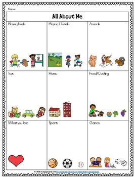 All About Me Graphic Organizer