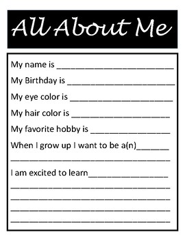All About Me Handout